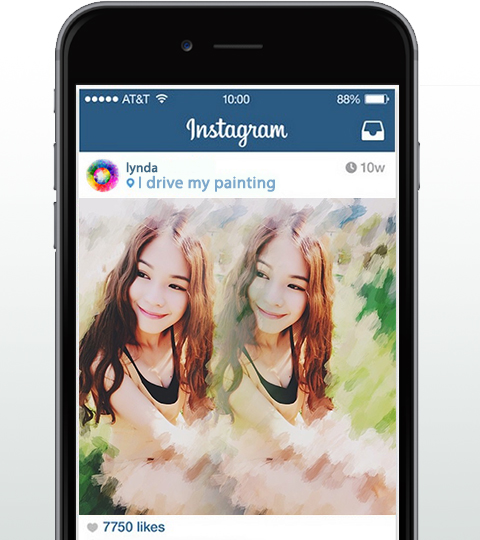 photoViva app draw on picture in Instagram of a woman